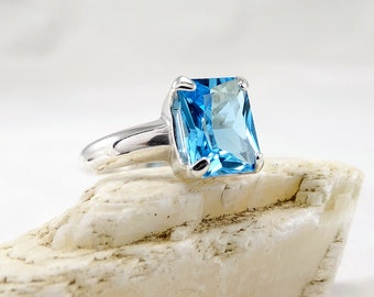 Blue Topaz ring, ring topaz swiss blue, sterling silver topaz ring, girlfriend ring, woman ring size 3 4 5 6 7 8 9 10 11 12 13