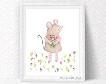 Mouse Nursery print Woodland art Watercolour original illustration Baby room animal theme Mouse art print Children wall art