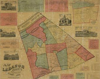 1860 Map of Lebanon County Pa Jonestown Annville