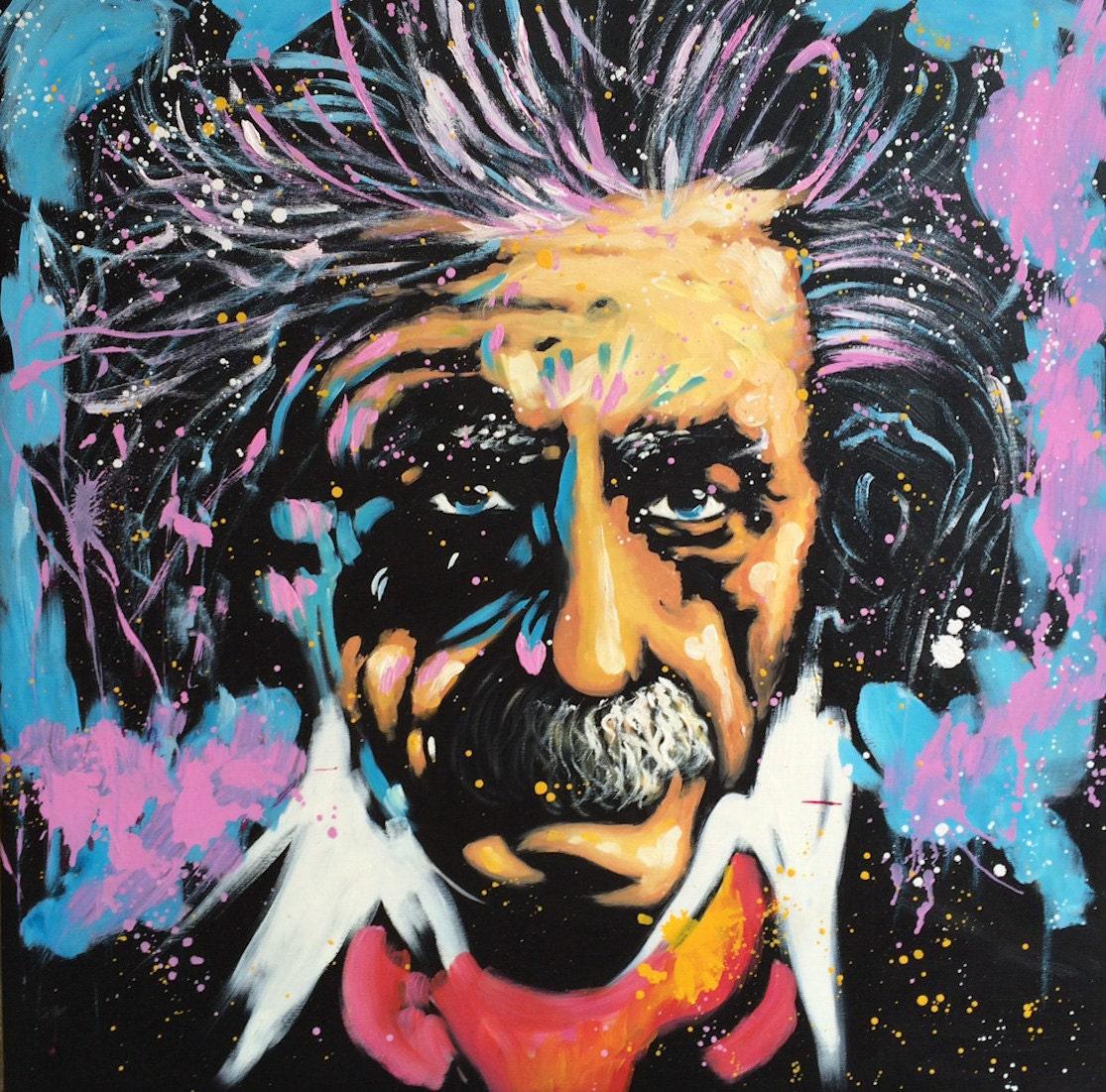 Pop Art Painting Albert Einstein Wall Art People Portrait