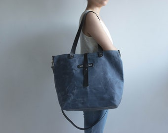 Waxed canvas bag, Waxed canvas tote, Waxed canvas handbag, Tote bag, Diaper bag, Shoulder bag, Canvas tote bag, Slate color, Ready to ship