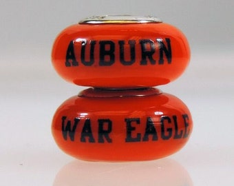 Auburn Tigers Glass Bead Fits European Style Bracelets
