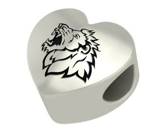 Missouri Southern Lions Heart Bead Fits Most European Style Charm Bracelets