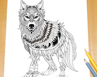 Ferocious Wolf - Adult Coloring Page Print