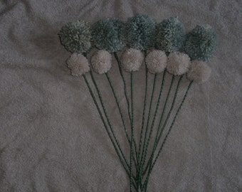 lovely set of 10 pom pom flowers gifts/weddings/baby showers/home and office decore