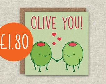 Cute Card Funny Birthday Card Olive You Greeting Card Anniversary Card For Boyfriend Card For Girlfriend Card For Husband Kawaii Card