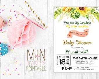 Glitter Sunflower Baby shower Invitation,Sunshine Birthday Invitation, Sunshine Invite, Sun Invitation, sunshine invitations, Summer invite