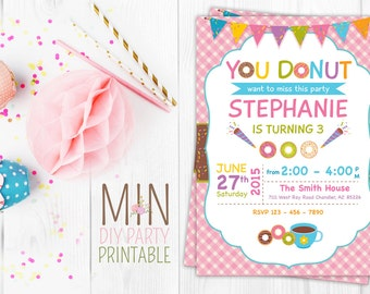 Donut Invitation, Donut Birthday Party, Donut Birthday Invite, Printable Donuts Invitation, Girl Birthday