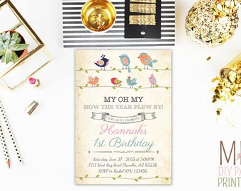 Birdies Birthday Invitation,Birds Birthday Invitation,Birds Baby Shower,Birds First Year Invitation,Birdies Invite, Bird Invitation