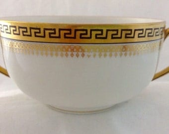 T and V Limoges #2680~Black & Gold Greek Key~Flat Bouillon Cup