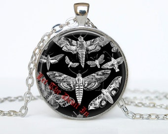 Moth pendant, butterfly necklace, gothic jewelry, victorian accessories, rock style #72