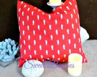 Bright Coral Seahorse  Print 18 X 18 Beach Pillow Cushion  Covers Seaside Ocean Coastal Nautical Decor
