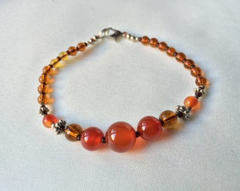 Holiday Sale Over 40%- Stocking Stuffer -Orange Carnelian and Silver Plated --
