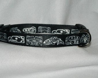 "1"" adjustable dog collar with Native American design"