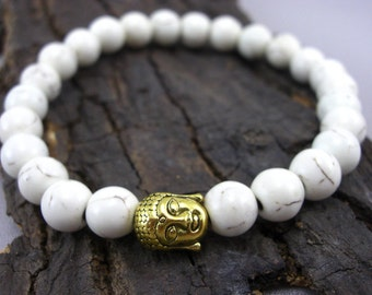 Buddha bracelet and cream-white Howlithperlen