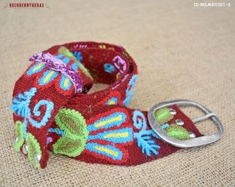 """Wool embroidery belt Size Small """"Blossom Magical""""- Floral belts for women - Gifts For Women - Waist belt - Peruvian belt - Womens Belt"""