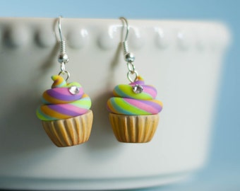 Rainbow Cupcakes Earrings with Crystal Detail - Polymer Clay Handmade Jewelry - Miniature Food