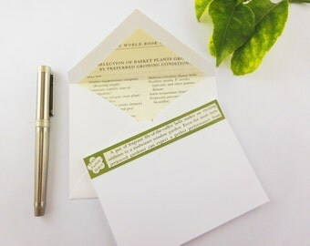 Upcycled Stationery | Recycled Book | Gardening Book Stationery | Lined Envelopes | Book Lovers Gift | Gardener Gift | Upcycled Stationary
