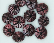 Clay Beads Pink Opaque Glazed Textured Cushion 12mm. Pack of 12. Made in India.