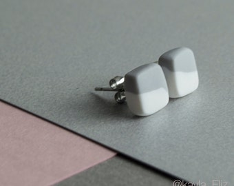 GREY + WHITE Two-Piece Studs Polymer Clay Earring Studs