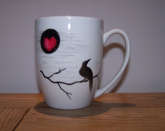Raven Moon mug beautiful bone china personalised to order by Raven Tea Lady..the perfect gift for xmas / birthday / anniversary