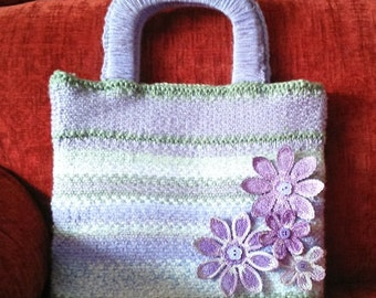 Hand Knitted Lilac Handbag with Lace Flowers and Beads
