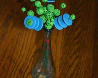 Green and Blue Button Flower Bouquet