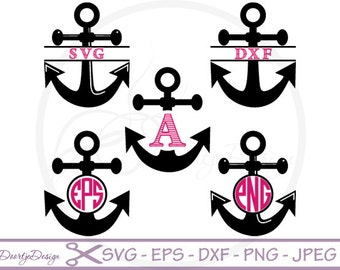 Anchor Monogram SVG files for Cricut, Anchor svg split monogram, svg Files Silhouette, DXF files Cut Files, SVG files, dxf files silhouette