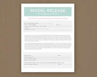 Model Release Forms - Photography Template for Photographers - Photoshop PSD *INSTANT DOWNLOAD*