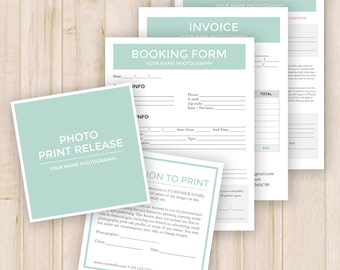 Photography Form Templates Pack - Model Release, Print Release, Booking, Invoice - Photoshop PSD *INSTANT DOWNLOAD*