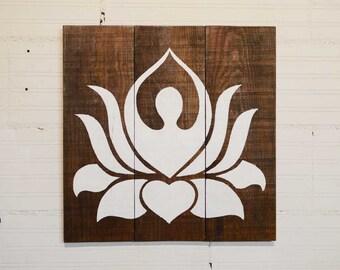 Box wood handcrafted decorative Zen Lotus Flower