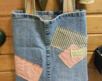 Recycled denim blue jeans  tote, handbag, school bag, book bag, diaper bag. Country cute