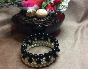 Black and white memory wire wrap triple stack bracelet