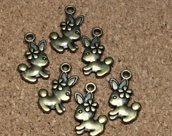 Bronze Bunny charms 6 pcs