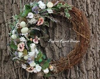 Easter wreath, Spring wreath, Rustic wreath, Floral wreath, large wreath, floral decorations, floral arrangement