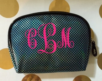 Monogrammed personalized Metmaid inspired zippered cosmetic bag
