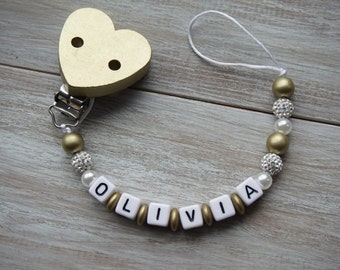 Gold Rhinestone Heart Clip