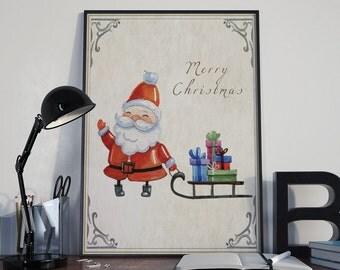 Watercolor Santa Art, Christmas Wall Art, Holiday Decoration, Christmas Print, Farmhouse Christmas, Xmas Digital Art, Printable xmas