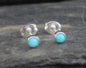 Natural amazonite gemstone earrings, 3mm cabochon, sterling silver, posts earrings, studs, birthstone, second earrings, made to order