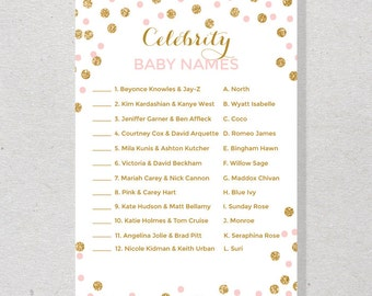 Celebrity Baby Name Game, Celebrity Baby Game, Pink and Gold Baby Shower Game - SKUHDB01
