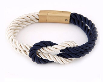 Nautical Rope Bracelet, Navy and White Bracelet, Cord Bracelet.