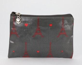 SALE! Oilcloth Zip Pouch - Paris Eiffel Tower - Passport case - Oil cloth zip wallet - Coin purse - Ladies purse - Woman wallet- Travel card