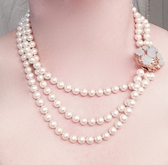 Three Strand Mallorca Pearl Necklace