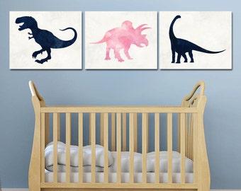 Dinosaur Print Set - Printable Nursery Art - Pink and Navy Blue - Dinosaur Nursery Theme - Dinosaur Party Decor - Playroom Art - Baby Girl