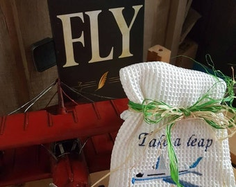Take a Leap and Fly airplane kitchen towel