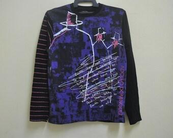 RARE Vintage ADOLFO DOMINGUEZ All over Long Sleeve T-Shirt,Adolfo Dominguez Mafia Design Shirt,Hip Hop,Rap ,Swag,Luxury Designer Shirt