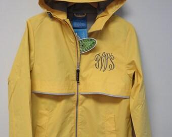 Monogrammed Charles River Rain Jacket - Monogram Raincoat, Monogram Rain Jacket - New Englander rain Jacket - Personalized - FAST SHIPPING