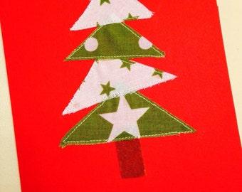 Handmade Christmas Card, Fabric, Christmas Tree