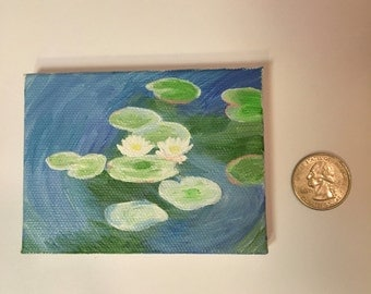 Miniature Painting Monet - Water Lilies Tiny Painting Miniature Art
