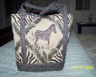 Zebra Tweed Tote
